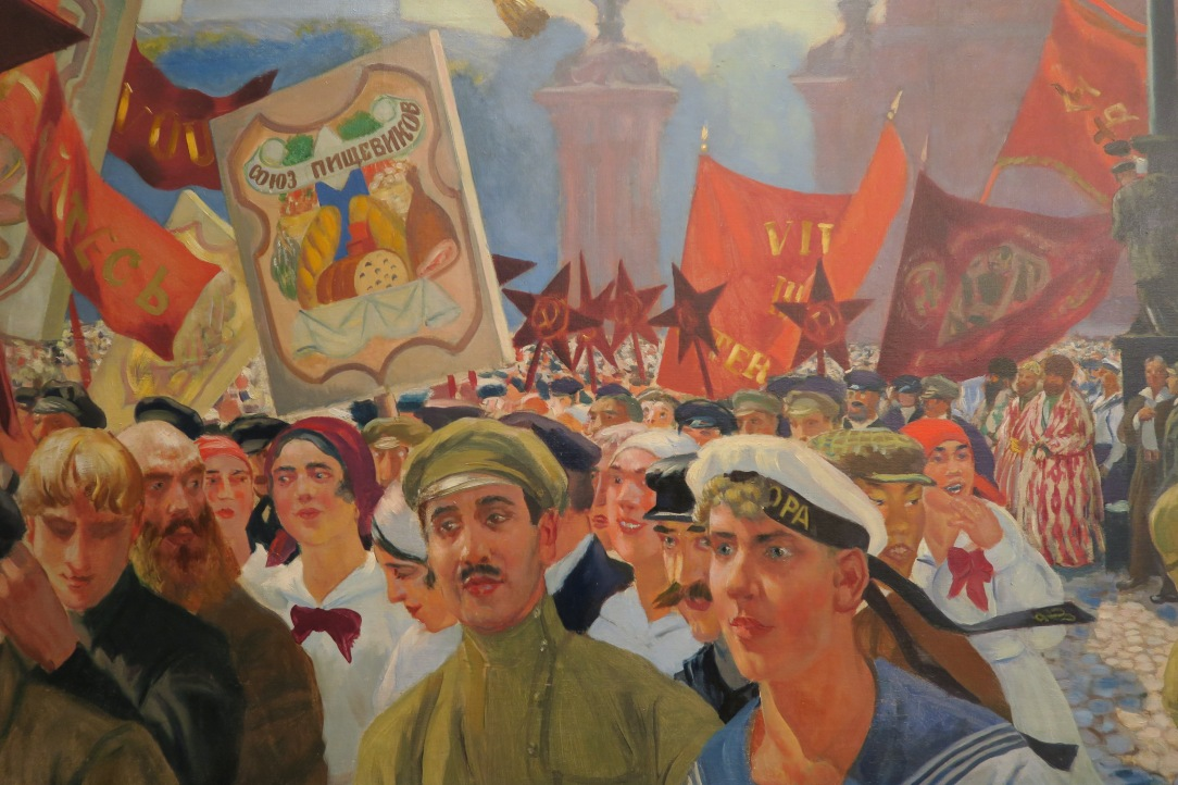 REVOLUTION Kustodiev. Demonstration in Uritsky Square (detail). Photograph © www.foxtrotfilms.com