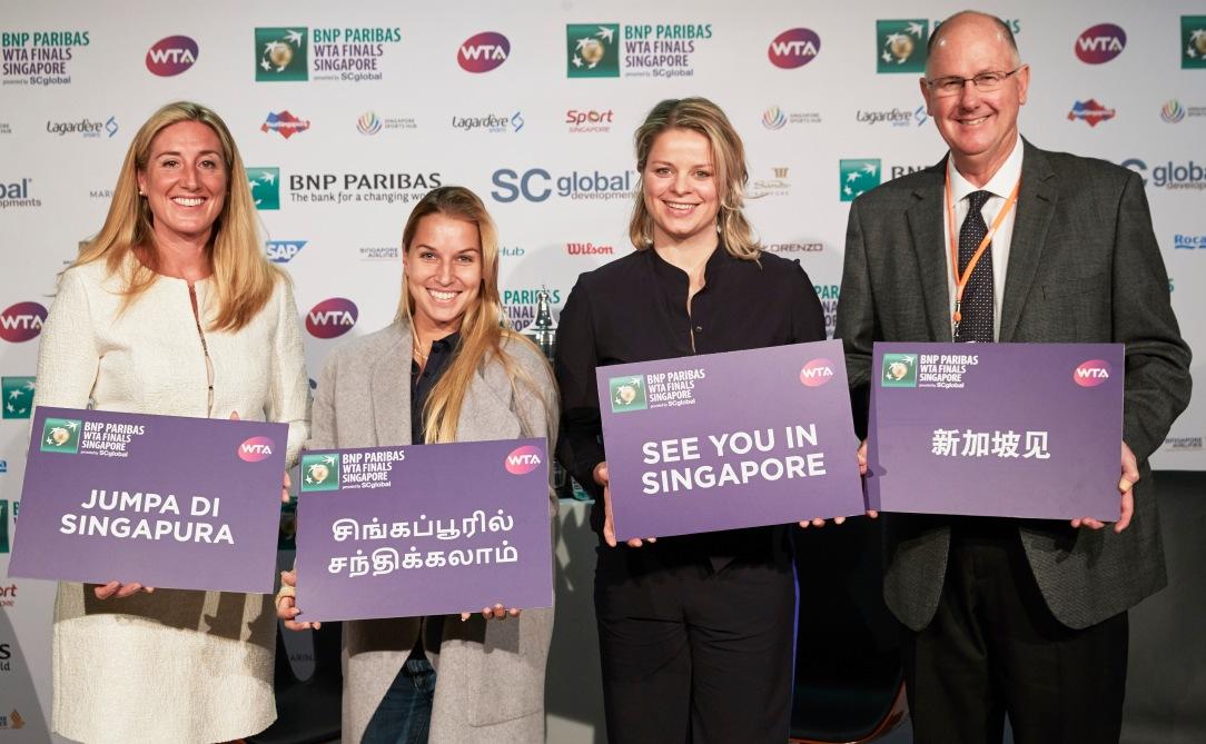 Melissa Pine, Dominika Cibulkova, Kim Clijsters, Steve Simon - See you in Singapore (Photo Credit - Getty Images)