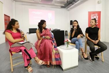 Sharing session by Got to Move Ambassadors Seema Harikumar, Deanna Binte Dzulkifli and Serene Tan at the media launch of Got to Move 2017