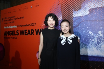 Angels Wear White director Vivian Qu and actress Zhou Meijun at the 28th SGIFF Opening. Photo courtesy of Bonnie Yap & SGIFF