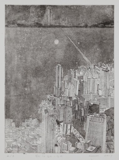 Gallery I, Noh Van, City in the city-The abyss, 2017, Etching and pigment on korean paper, 29.5x39.5cm, SGD 900