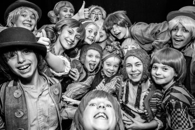 The kids of The Wizard of Oz company behind the scenes. Photo by Sam Taylor.