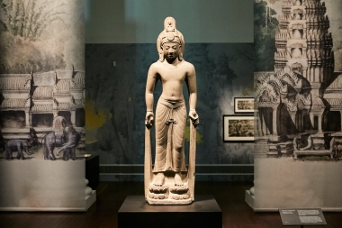 A pre-Angkor sculpture greets visitors at the start of the exhibition